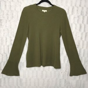 Madewell Green Ribbed Bell Sleeve Sweater